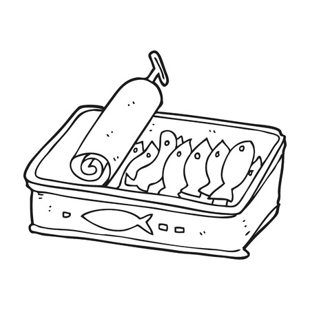 sardines: freehand drawn black and white cartoon can of sardines