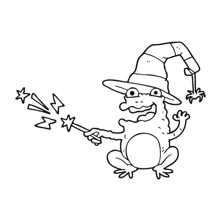 spell: freehand drawn black and white cartoon toad casting spell