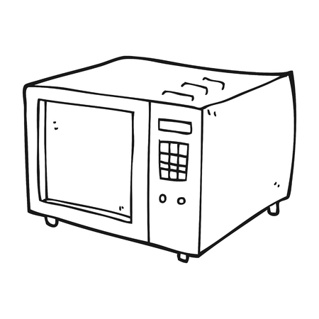 freehand drawn black and white cartoon microwave