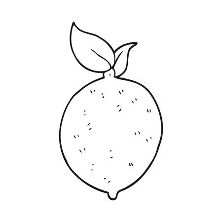 freehand drawn black and white cartoon lemon