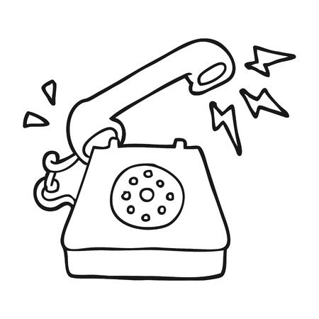 ringing: freehand drawn black and white cartoon ringing telephone