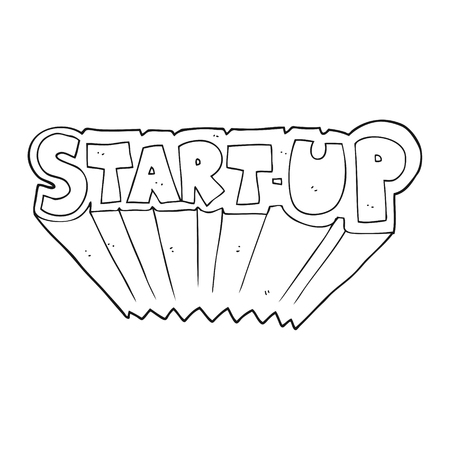 startup: freehand drawn black and white cartoon startup symbol