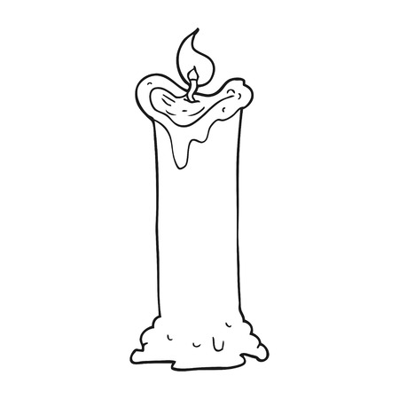 white candle: freehand drawn black and white cartoon spooky candle