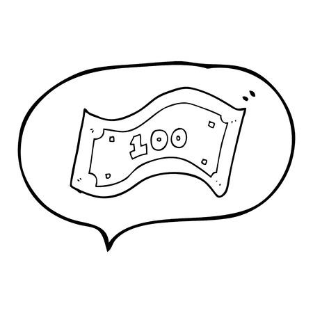 Dibujado A Mano Alzada De Dibujos Animados En Blanco Y Negro Billete ...