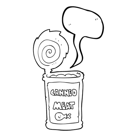 tinned: freehand drawn speech bubble cartoon canned meat