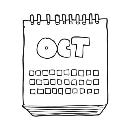 calendario del fumetto bianco e nero disegnato a mano libera che mostra il mese di ottobre