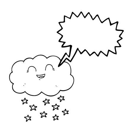 snowing: freehand drawn speech bubble cartoon cloud snowing