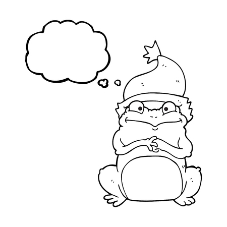 christmas frog: freehand drawn thought bubble cartoon frog wearing christmas hat