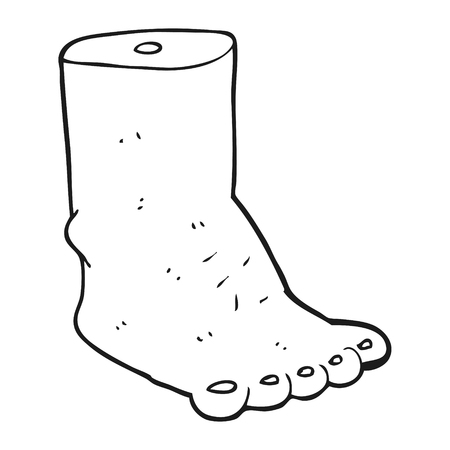 bodyparts: freehand drawn black and white cartoon foot Illustration