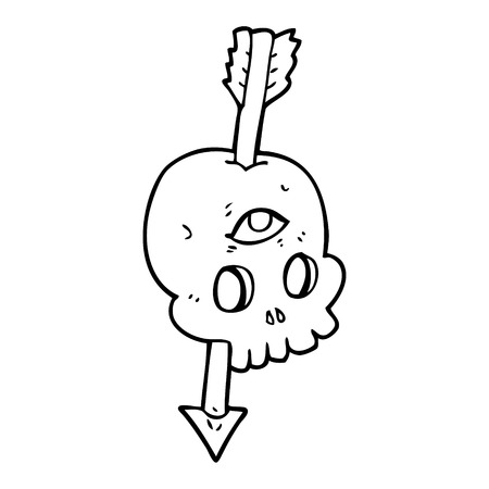 third eye: freehand drawn black and white cartoon magic skull with arrow through brain Illustration