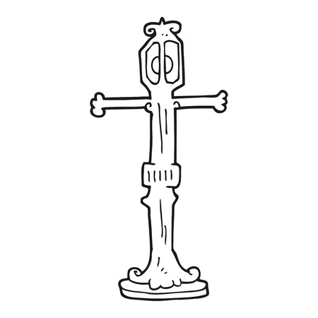 street lamp: freehand drawn black and white cartoon street lamp