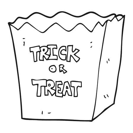treat: freehand drawn black and white cartoon trick or treat bag Illustration