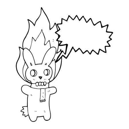 flaming: freehand drawn speech bubble cartoon flaming skull rabbit Illustration