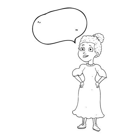 victorian woman: freehand drawn speech bubble cartoon victorian woman in dress