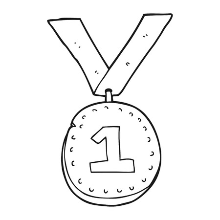uit de vrije hand getekende zwart-wit cartoon eerste plaats medaille