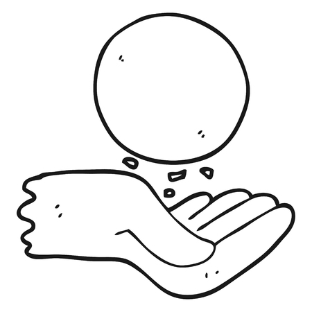 throwing: freehand drawn black and white cartoon hand throwing ball