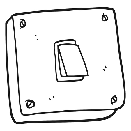 freehand drawn black and white cartoon light switch Stock Vector - 53288666