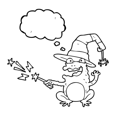 spell: freehand drawn thought bubble cartoon toad casting spell