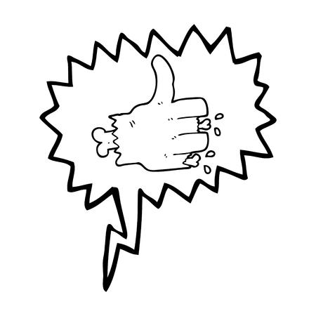 zombie hand: freehand drawn speech bubble cartoon zombie hand