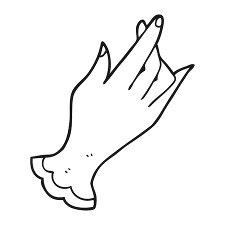 bodyparts: freehand drawn black and white cartoon hand Illustration