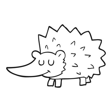 cartoon hedgehog: freehand drawn black and white cartoon hedgehog
