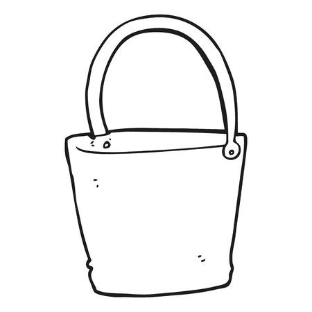 freehand drawn black and white cartoon bucket 矢量图像