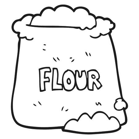 freehand drawn black and white cartoon bag of flour