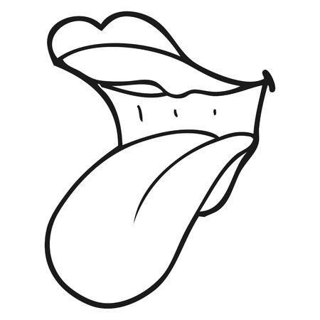 sacar la lengua: dibujado a mano alzada boca de dibujos animados en blanco y negro pegado a la lengua