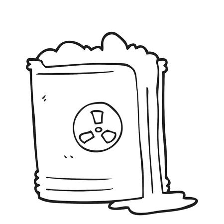 radioactive waste: freehand drawn black and white cartoon radioactive waste