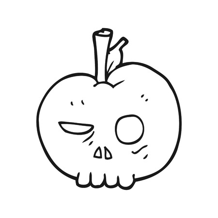 apple clipart: freehand drawn black and white cartoon poison apple