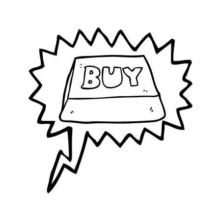 computer key: freehand drawn speech bubble cartoon computer key buy symbol Illustration