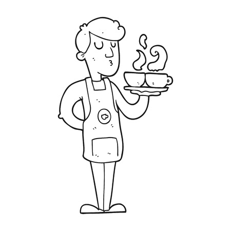 53289395 freehand drawn black and white cartoon barista serving coffee?ver=6 artwork waiter stock photos & pictures royalty free artwork on job description template for a waitress