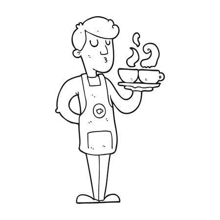 barista: freehand drawn black and white cartoon barista serving coffee