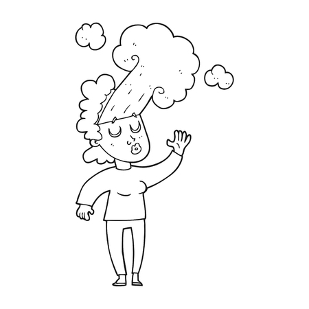 letting: freehand drawn black and white cartoon woman letting off steam Illustration