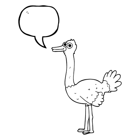 ostrich: freehand drawn speech bubble cartoon ostrich
