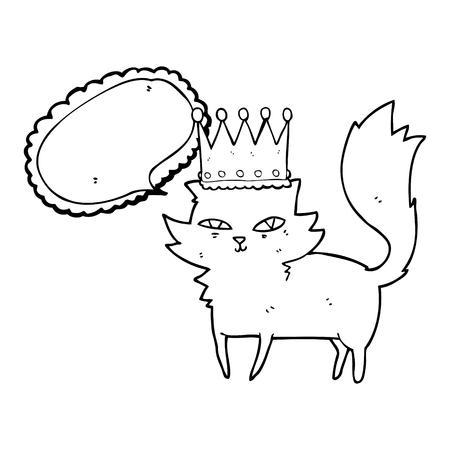 upper class: freehand drawn speech bubble cartoon posh cat Illustration