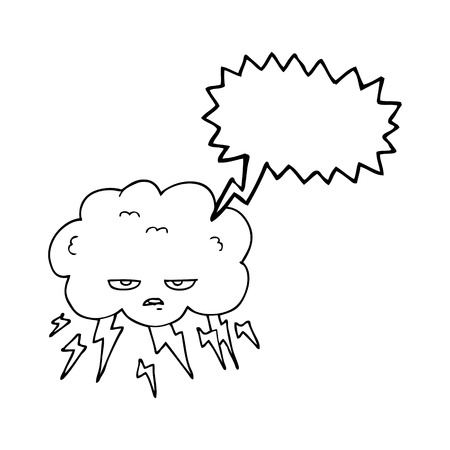 thundercloud: freehand drawn speech bubble cartoon thundercloud