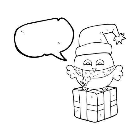 wrapped: freehand drawn speech bubble cartoon cute christmas owl on wrapped present Illustration