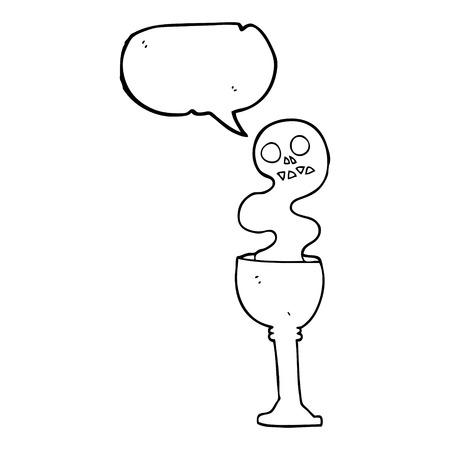goblet: freehand drawn speech bubble cartoon spooky halloween goblet Illustration