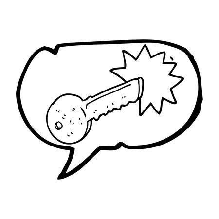 cartoon door: freehand drawn speech bubble cartoon door key Illustration
