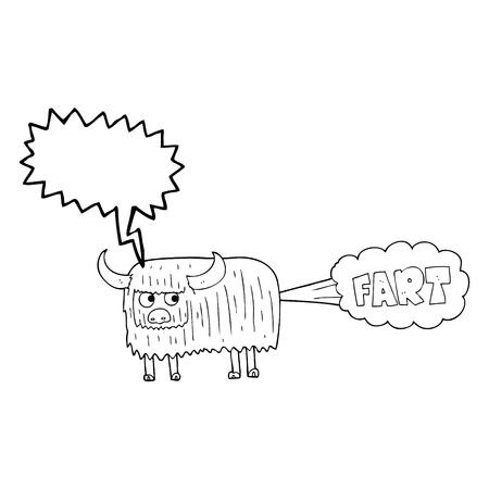 hairy: freehand drawn speech bubble cartoon hairy cow farting Illustration