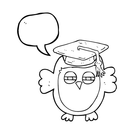 freehand drawn speech bubble cartoon clever owl Illustration