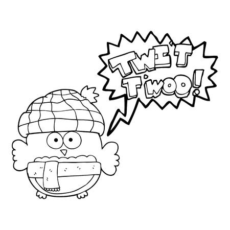 twit: freehand drawn speech bubble cartoon cute owl saying twit twoo
