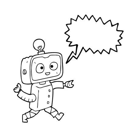 talking robot: freehand drawn speech bubble cartoon robot