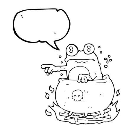 crazy frog: freehand drawn speech bubble cartoon halloween toad in cauldron Illustration