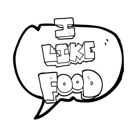 i like: freehand drawn speech bubble cartoon i like food symbol