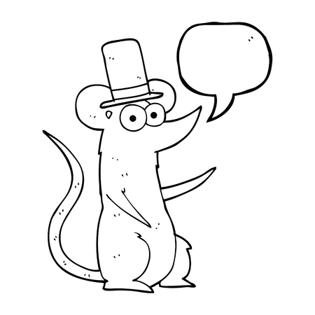 top hat cartoon: freehand drawn speech bubble cartoon mouse wearing top hat
