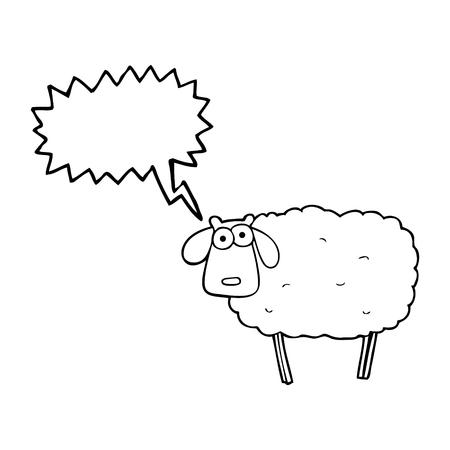 muddy: freehand drawn speech bubble cartoon muddy sheep Illustration