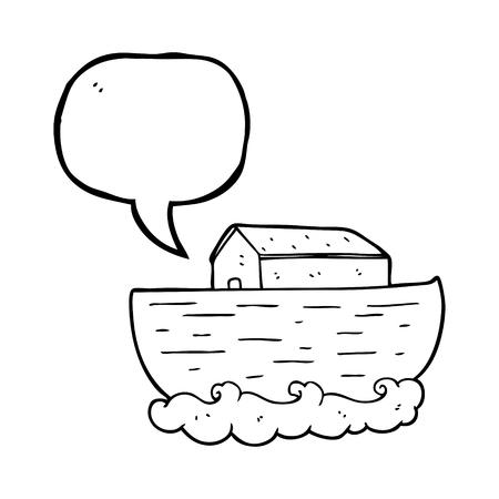 ark: freehand drawn speech bubble cartoon noahs ark Illustration
