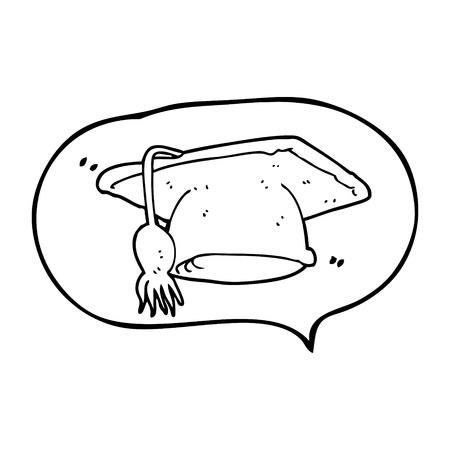 graduacion caricatura: a mano alzada casquillo de la graduaci�n de la burbuja de dibujos animados discurso elaborado
